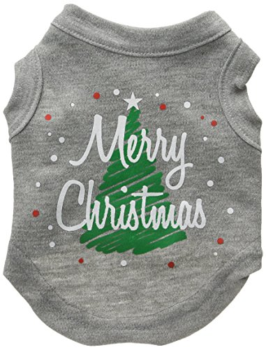 Mirage Pet Products 8-Inch Scribbled Merry Christmas Screenprint Shirts for Pets, X-Small, Grey