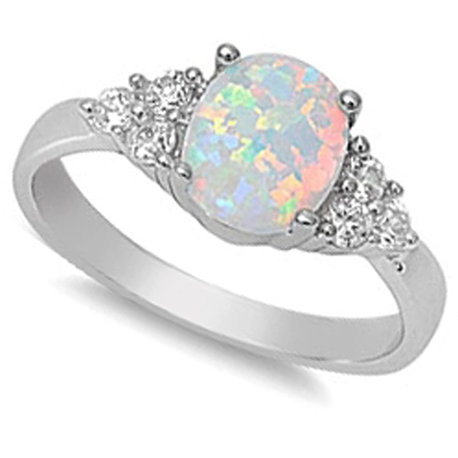 amazoncom white australian opal white cz ring jewelry - Black Opal Wedding Rings