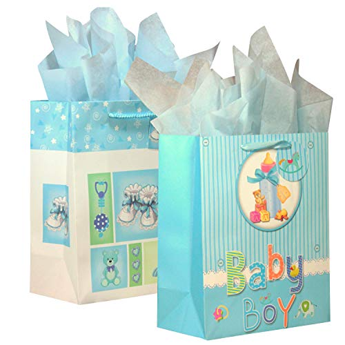 New Birthday Gift Bags - BagLove Large Baby Boy Gift Bag with Tissue Paper (2 Pack) 10.5