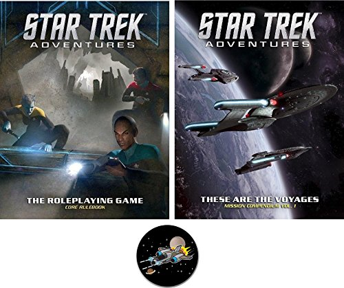 Adventure Source Book - BUNDLE of Star Trek Adventures Core Rulebook and Sourcebook 1 plus a Star Fighter Button