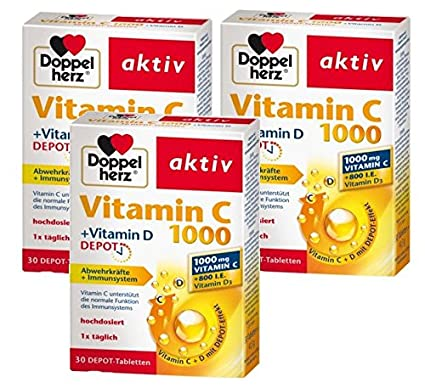 Vitamina D doble del corazón C1000 + Vitamina D, depósito, 3 x 30 tabletas