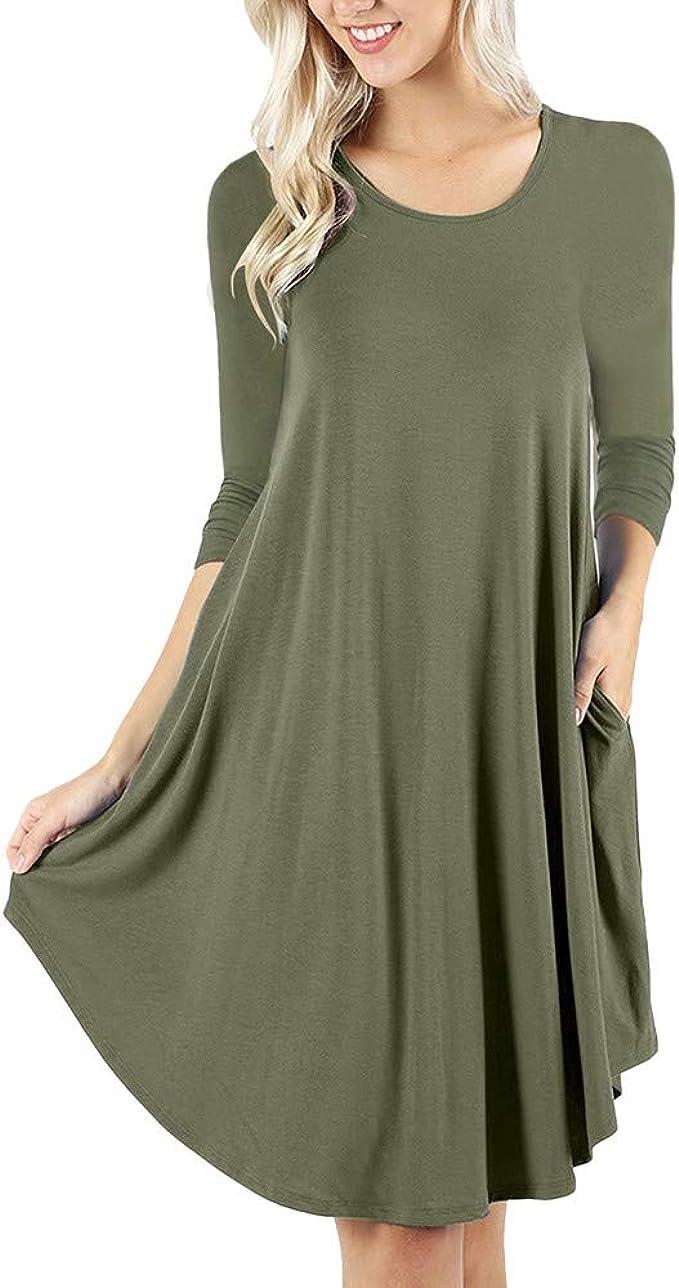 Qmber Kleider Damen Pullover Kleid Bluse Elegant Lose Langarm Einfaches  Beiläufiges Strickkleid Viskose Jersey Stretch Skaterkleid, O Neck Casual  Über