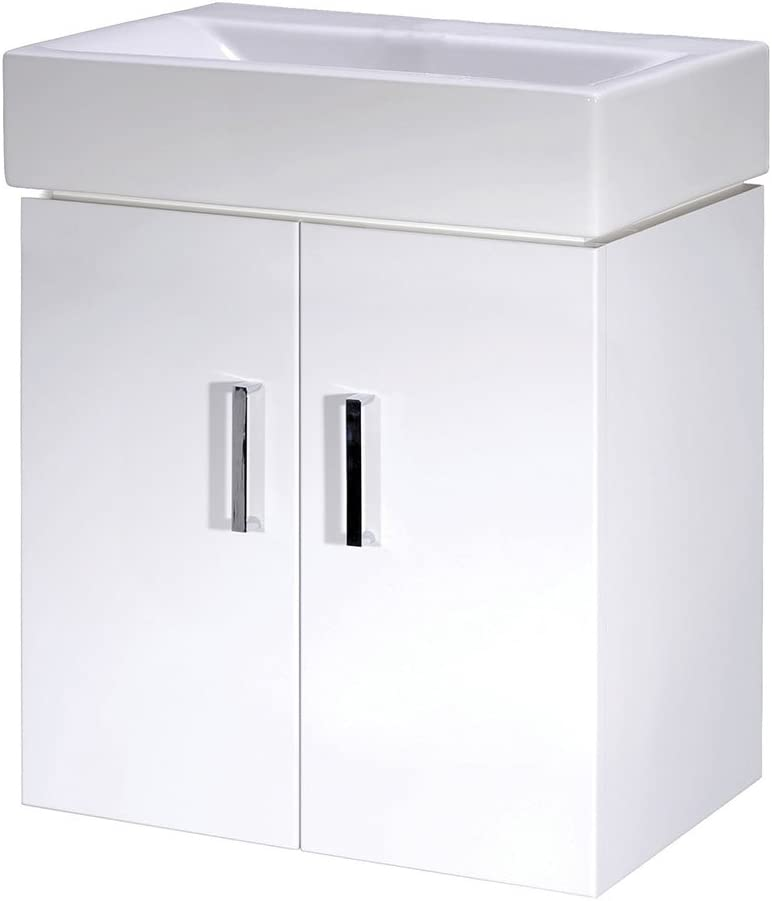 Nuie Cloakroom VTWW450 Mayford | Modern Bathroom Wall Hung 2 Door Vanity Unit with 1 Tap Hole Basin, 450mm x 595mm, Gloss White, 450mm