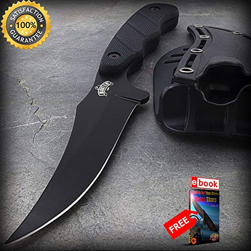 9'' FIXED BLADE CLIP POINT SKINNING SHARP KNIFE with NYLON FIBER SHEATH Survival Hunting Combat Tactical Knife + eBOOK by Moon Knives - Timberline Nylon Knife