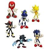 Tomy Gacha Set of 6 Sonic the Hedgehog Buildable 2.5 Inch Mini Figures Sonic, Shadow, Werehog, Metal Sonic, Knuckles Super Sonic