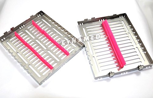 4 GERMAN DENTAL AUTOCLAVE STERILIZATION CASSETTE TRAY FOR 15 INSTRUMENTS 8.25X7.25X1.25'' PINK/BLUE ( CYNAMED ) by CYNAMED (Image #6)