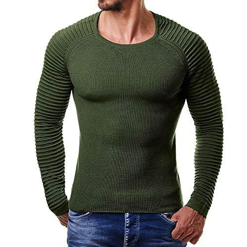 Men's Casual Pure Autumn Winter Striped Drape Knit Long Sleeve T-Shirt Top Blouse ()