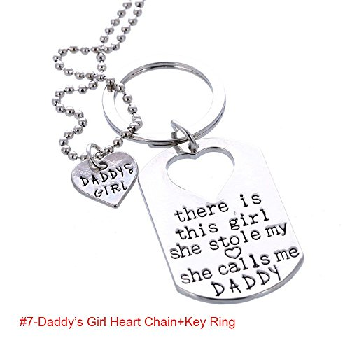 Fuleewoo Silver Plated Daddy Heart Pendant Necklace There Is This Girl She Stole My Heart Key Ring ()