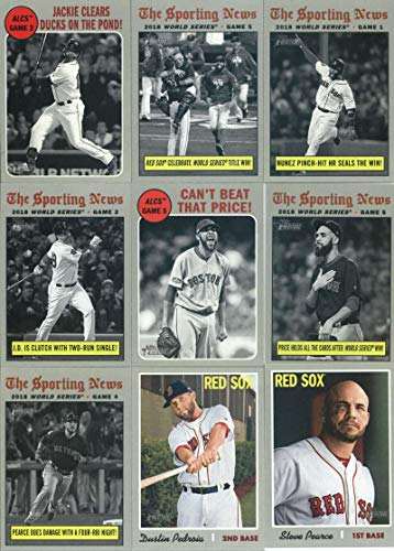 2019 Topps Heritage Baseball Boston Red Sox Team Set of 26 Cards: World Series Champion(#1), Jackie Bradley Jr.(#10), Brock Holt(#39), Mookie Betts(#78), Christian Vazquez(#104), Rafael Devers(#163), David Price(#191), Jackie Bradley(#199), Jackie Bradley(#200), Andrew Benintendi(#201), David Price(#202), Steven Wright(#215), Eduardo Rodriguez(#237), Dustin Pedroia(#251), Steve Pearce(#265), Rick Porcello(#279), Eduardo Nunez(#305), plus more