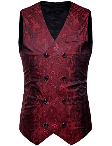 ZEROYAA Mens Hipster V Neck Slim Fit Double Breasted Paisley Dress Vest for Suit or Tuxedo Z66 Wine Red Small