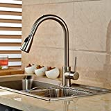 Senlesen Brushed Nickel Dual Sprayer Kitchen Faucet Single Handle Pull Out Kitchen Mixer Tap