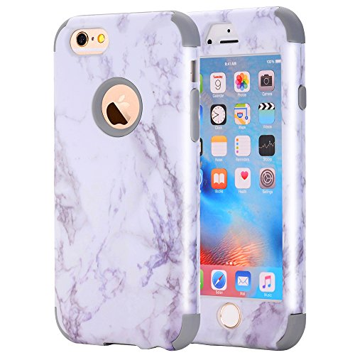 iPhone 6/6S Case, Asstar 3 In 1 Marble Creative Design Soft Silicone Hard PC Shockproof Anti-Scratch Glossy Protective Cover Case for Apple iPhone 6/6s 4.7 inch (Grey)