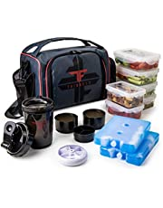Insulated Meal Prep Lunch Box with 6 Food Portion Control Containers - BPA-Free, Reusable, Microwavable, Freezer Safe - With Shaker Cup, Pill Organizer, Shoulder Strap & Storage Pocket