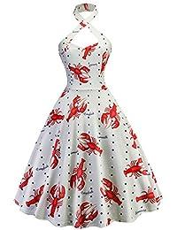Tecrio Retro 50s - Vestido oscilante para mujer, cuello en V, diseño floral