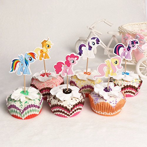 My Little Pony Cupcake topper 2017 new cartoon cake toppers kids birthday -