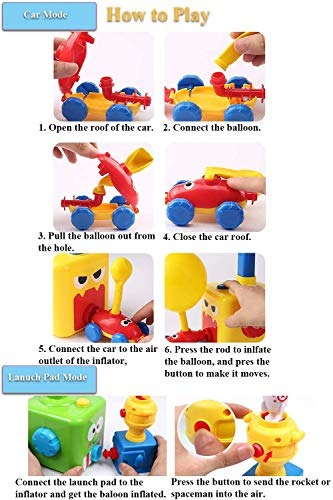 E-gle Balloon Powered Car with Launch Pad Toy for Kids - Air Inertial Balloon Pump Cars Racer Creative Vehicle Toy for Children - Best Toys Gift for Kids (No Batteries Needed) (Yellow Angry Bird)