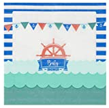 Cocktail Napkins - 150-Pack Luncheon Napkins, Disposable Paper Napkins Nautical Themed Baby Shower Party Supplies, 2-Ply, Unfolded 13 x 13 Inches, Folded 6.5 x 6.5 Inches