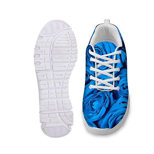 D DESIGNS Sneaker Walking Fashion Women's Vintage Floral Blue Shoes FOR Print Rose U Comfortable Running 6ApCwnc5q