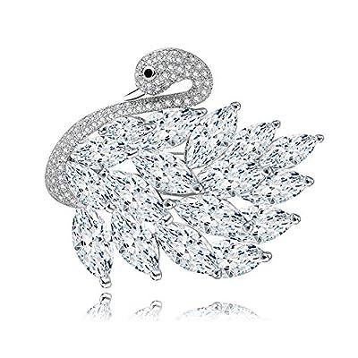 wholesale Bridal Silver-Tone Swan Bird Clear Zircon Brooch Pin on sale