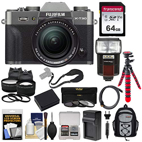 Price comparison product image Fujifilm X-T30 Wi-Fi Digital Camera & 18-55mm XF Lens (Charcoal) with 64GB Card + Battery + Charger + Tripod + Flash + Backpack + 2 Lens Kit