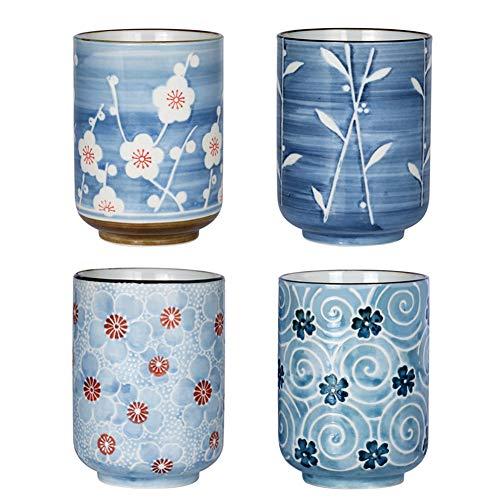 Sunddo Japanese Ceramic Tea Cups 11 oz Blossom Teacups Tea Gifts Set of 4
