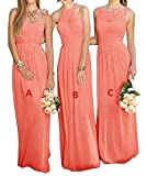 GMAR Women's Chiffon BridesmBid Dresses Sleeveless Long Prom Evening Gowns Coral C Size 2