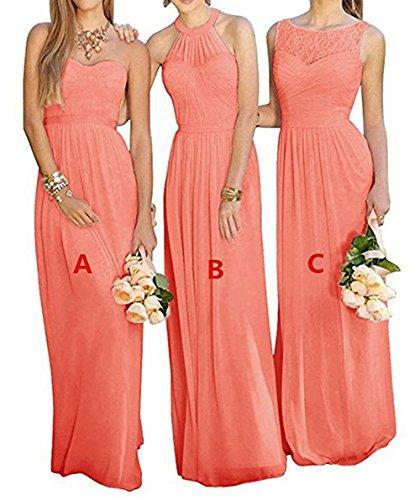 Silk Chiffon Dress Prom (GMAR Women's Chiffon BridesmBid Dresses Sleeveless Long Prom Evening Gowns Coral C Size 6)