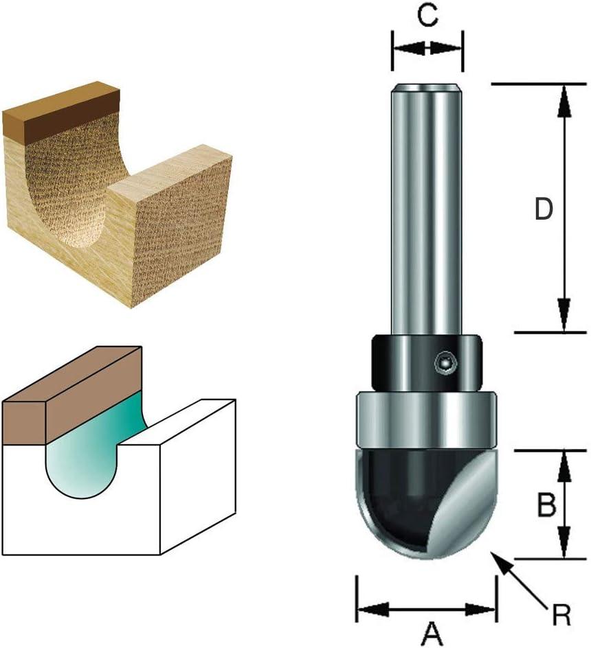 Schaft D 40 mm HM Durchmesser R 12,7 mm 12 mm A C ENT 12520 Hohlkehlfr/äser HW B 19 mm mit Kugellager 25,4 mm