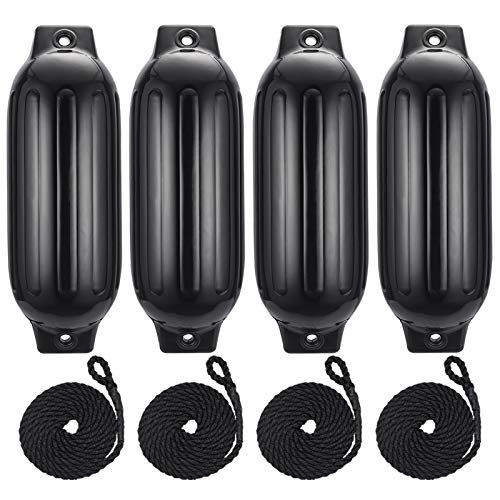 Artist Hand Inflatable Boat Fenders,Molded Vertical Eyelets, Dock Protector, Molded Boat Fenders Bumpers. 4 Pack, 27