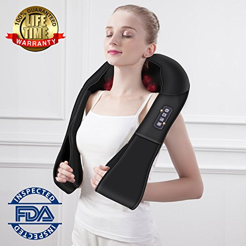 Shiatsu Neck and Back Massager with heat Electric Massagers Deep Kneading Massage for Neck, Back, Shoulder, Waist, Leg and Foot Use at Home Car Office