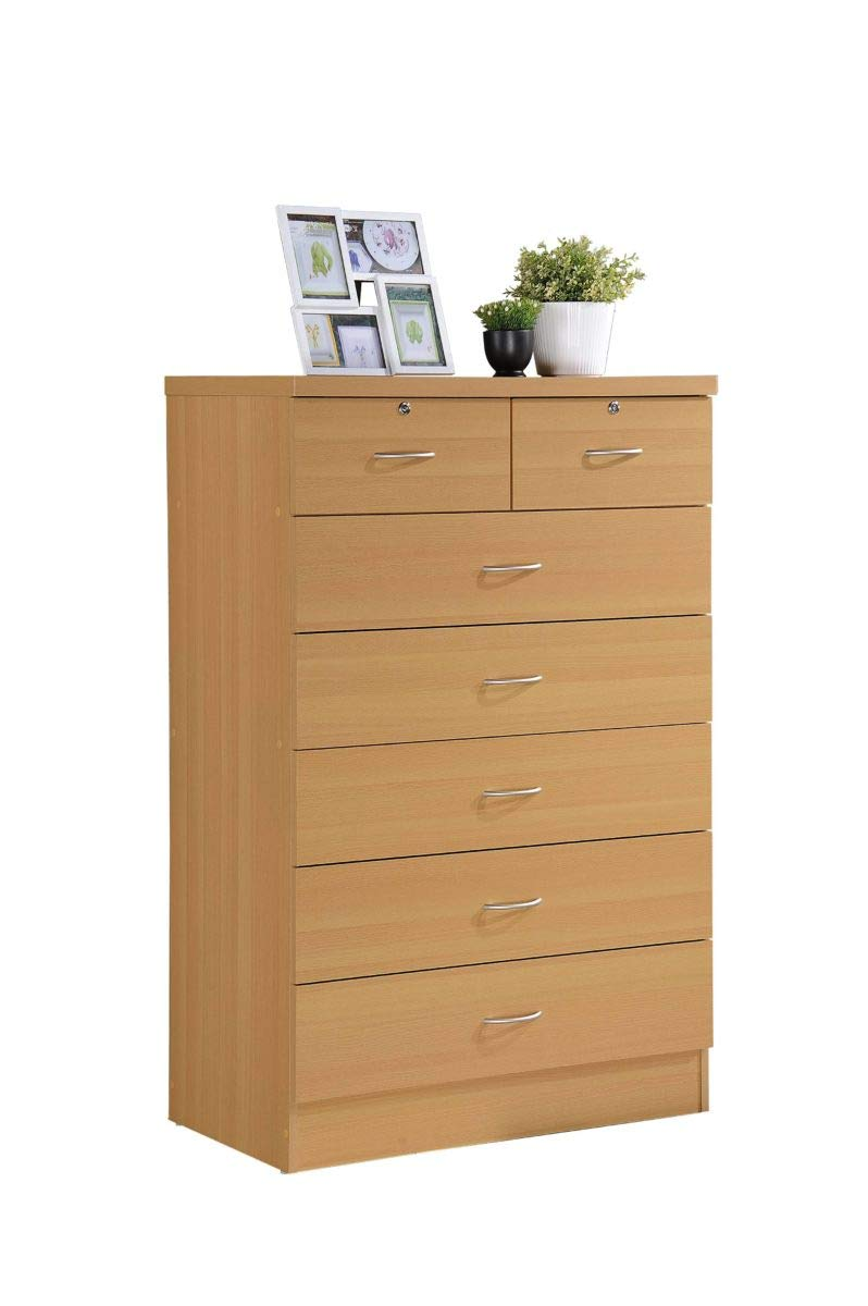 Hodedah 7 Drawer Chest, Five Large Drawers, Two Smaller Drawers with Two Locks, Beech