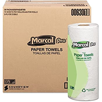 100% Premium Recycled Perforated 2-Ply Paper Towels - 70 Sheets per Roll