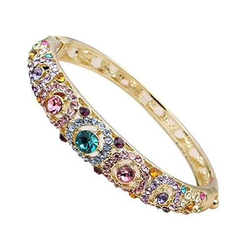 (JUST N1 24k Gold Plated Swarovski Crystals Bangle Bracelets White Gold Plated Hinged Jewerlry)