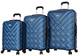 Nicole Miller New York Basket Weave Collection 3 Piece Hardside Luggage Set Spinner (One Size, Basket Weave Dark Lake Blue)