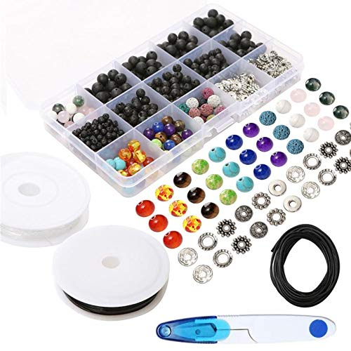 500 Piece Jewelry Making Beads and Rocks Kit Bracelet & Necklace, Great for Fun DIY Arts & Crafts to Make Fashionable and Creative Designs, Beautiful Lava Beads, Chakra Beads and Spacers (Black Crystal Coral Necklace)