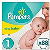 Pampers Premium Protection New Baby Size 1 (2-5 kg) Nappies for Babies –  Set of 2x44(176 pieces)