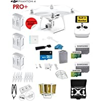 DJI Phantom 4 PRO Plus (Pro+) Drone with 1-inch 20MP 4K Camera KIT with Built in Monitor + 3 Total DJI Batteries + 2 64GB Micro SD Cards + Reader + Guards + Range Extender + Charging Hub + HardCase