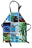 Lunarable Spa Apron, Ocean Themed Collage with Starfish Stone Botanic Plants Aqua and Candles Image, Unisex Kitchen Bib Apron with Adjustable Neck for Cooking Baking Gardening, Blue and Green