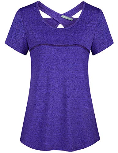 Kimmery Purple Workout Shirts for Women, Feminine Elegant Sexy Open Back Hollow Out Trendy Top Sporty Classy Light Weight Short Sleeve Active Wear Tunic Yoga Lounge Lifting Running Tee Scoop Neck L