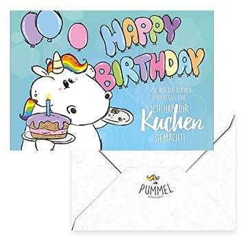 Pummeleinhorn Grusskarte Happy Birthday Bunt Amazon De