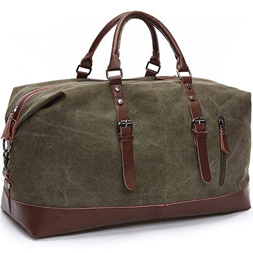 Travel Duffel Bag Canvas Overnight Tote PU Leather Weekend Bag Duffle Shoulder Handbag Bag for Men and Women Unisex (Green)