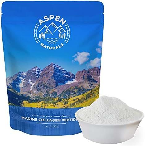 Marine Collagen Peptides Protein Powder - Sourced from Wild Caught North Atlantic Cod - Premium Fish Supplement for Bone, Joint, Gut, Hair and Nail Health - Non GMO, Gluten-Free - 12oz, Aspen Naturals