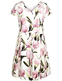 Chicwe Women's Stretch Lily Print Skater Plus Size Dress with Cap Sleeves Lily Multi2X offers