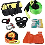 Winch Recovery Gear Kit for Jeep Truck-includes Gear Bag,Snatch Block Pulley,Recovery Strap,Protector Strap,D Rings,Line Dampener and Leather Gloves