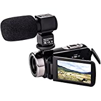 Camera Camcorders,YSANY Full HD 1080P 24MP 16X Digital Zoom Remote Control IR Night Vision Video Camera with Microphone and 3.0 LCD 270°Rotation Touchscreen and 2 batteries