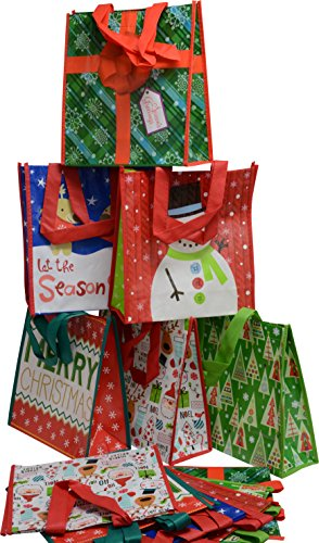 Reusable Gift Bag Tote with reinforced handles, Christmas designs for presents, shopping or party (Pack of 12) (Holiday Fun, Med 10.25 x 10 x 3.75)