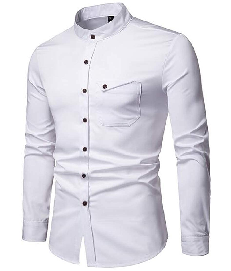 KLJR Men Wear to Work Leisure Pure Color Long Sleeve Stand Collared Henley Shirt