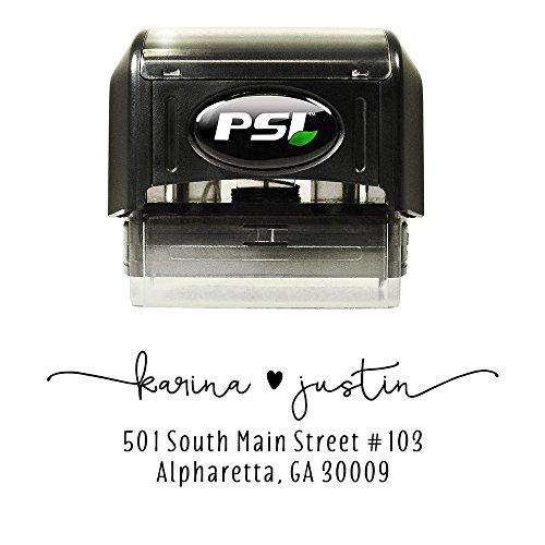Cute Custom Return Address Stamp, Self Inking, Wedding Stamp, Personalized, Black (Wedding Invitation Plate)