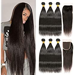 Brazilian Straight Hair 3 Bundles With Closure 8A 100% Unprocessed Virgin Brazilian Human Hair Weave Weft With 4×4 Lace Closure Natural Black Color (16 18 20+14, Free Part)