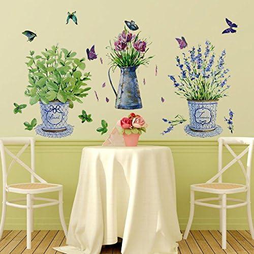 ウォールステッカー家の装飾鉢植え植木鉢蝶キッチン窓ガラス浴室デカール防水
